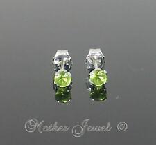 3mm Real Solid 925 STERLING SILVER Peridot Green CZ Girls Earrings Unisex Studs