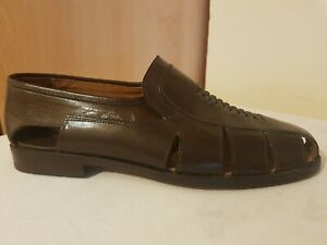 RUSSELL AND BROMLEY MENS BROWN LEATHER LOAFER SANDAL SHOE SIZE 43 /9