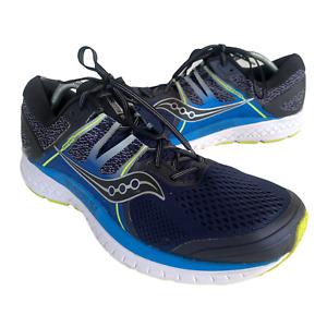 Saucony Omni ISO Mens Size 13 Black Blue Athletic Trail Running Shoes Sneakers