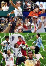 Roger Federer Nadal Pele Messi Ronaldo Tennis Soccer Autograph Signed A4 Poster
