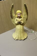 Vintage Tall Lighted Christmas Angel Yellow Union Plastic Blow Mold