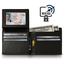 RFID Blocking Anti Theft Mens Wallet Real Leather Bifold Credit Card Protector