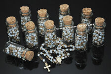 12 X Recuerdos De Bautizo Baby Shower Favors Quinceanera White Rosary in Bottle