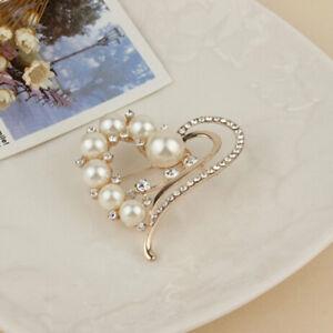 Heart Shape Brooch Pin Faux Pearl Peach Crystal Luxury Large Brooch Wedding N7