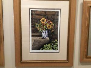 "Bob Timberlake ""Sunflower"" 1384/1500 COA VUE Glass and Custom Framed.""RARE"""