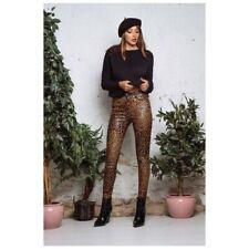 Damen High Waist Gewachste Hose  Skinny Leo Print Gr. 34 Pants Printhose