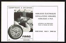 1940s Vintage 1946 Favag Clock Paper Print Ad