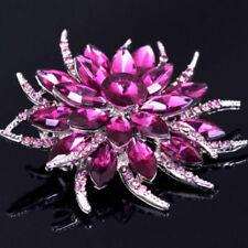Stunning Silver Plated Purple Crystal Flower Statement Brooch