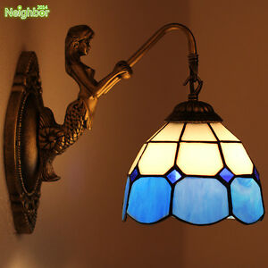Tiffany Fashion Mermaid Wall Lamp Mediterranean Stained Glass Mirror Front Light