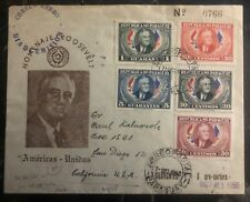 1950 Asuncion Paraguay First Day cover FDC To San Diego Ca USA Roosevelt Homage