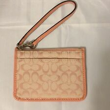 COACH Signature C Skinny ID Wristlet in Pink Peony With Patent Leather Trim