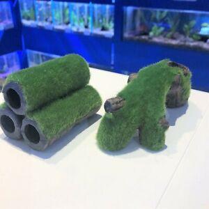 Small Ceramic Shrimp Tank Aquarium Ornament with Artificial Moss TR2 | TU3