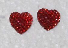 Red Heart Valentine Sparkle Hypoallergenic Nickel Free Stud Handmade Earrings