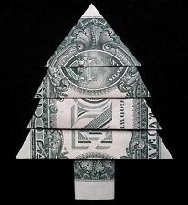 Origami Miniature CHRISTMAS TREE Decor Money Xmas $1 Dollar Bill Pin Mini Gift