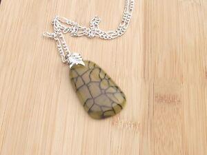 "Dragon Vein Agate Semi Precious Gemstone Pendant 50 x 30 mm 20"" Chain"