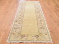 "2'10""x9'8"" Pure Wool Peshawar With Plain Field HandKnotted Runner Rug G44604"