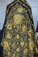 Stunning antique large black silk Canton piano opera shawl gold hand embroidery
