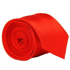 Skinny Hot Red Mens Mans Slim Plain High Quality Satin Neck Tie Necktie New UK