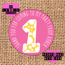 Personalised 24  party bag stickers sweet cone labels 1st birthday yellow cute