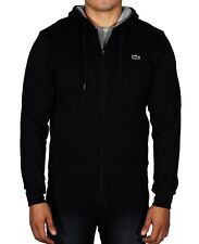 New Lacoste Men's Sport Hoodie Fleece Tennis Sweatshirt Full Zip SH7609 Black