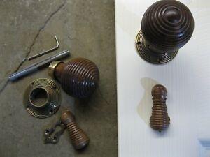Victorian Edwardian Reproduction Rosewood Beehive Door Escutcheons key holes