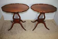 Duncan Phyfe style Oval Mahogany Side,End Tables  Lyre Bases Mersman c.1940's