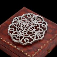 Antique Vintage Deco 925 Sterling Silver Marcasite Floral Geometric Pin Brooch