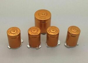 Gold/Orange Aluminium Alloy Metal ABXY Home 9mm Bullet Button Set Xbox 360