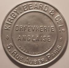Timbre Monnaie, 5 Centimes Kirby Beard, Orfevrerie Anglaise, 5 rue Auber, Paris