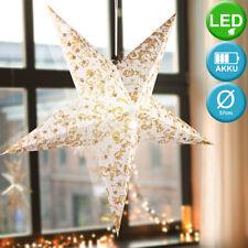 LED Advents Deko GOLD Decken Pendel Lampe Wohn Raum Papier Weihnachts Stern weiß