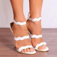 WHITE PATENT STILETTOS PEEP TOES BARELY THERE STRAPPY SANDALS HIGH HEELS SHOES