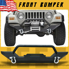 For 87-06 Jeep Wrangler TJ YJ Textured Black Front Bumper W/Winch Plate & D-Ring
