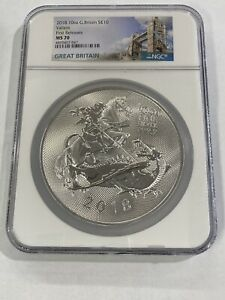 2018 10oz G. Britain S£10 Valiant First Releases NGC MS70