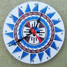 """STUNNING NATIVE AMERICAN ART  7"""" wall clock upcycled No2"""