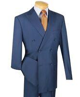 Vinci Men's Blue Double Breasted 6 Button Classic Fit Suit NEW