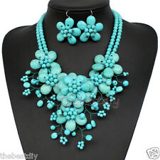 bib necklace handmade Turquoise  flower necklace Wedding Woman Jewelry