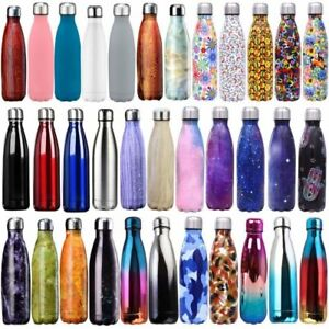 Insulated Double Wall Thermos Vacuum Flask Water Bottle Stainless Steel + Brush