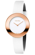 Calvin Klein Ladies Watch K7N236K2 White Leather Band, 38mm, Swiss Made, RRP$369