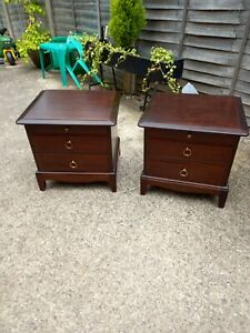 Pair Of Vintage Mahogany Stag Bedside Cabinets Tables Cupboards Storage Units