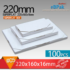 100x Mailing Box SuperFlat #02 220x160x16mm Large Letter Size A5 Rigid Envelope