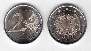SPAIN  BIMETAL 2 EURO UNC COIN 2015 YEAR 30th ANNI EU FLAG
