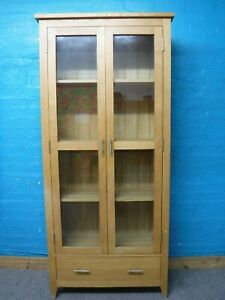 DOVETAILED SOLID OAK WOOD 2DOOR 1DRAWER DISPLAY CABINET BOOKCASE 191x87-see shop