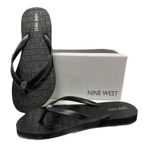 Nine West Womens Charlize Thong Sandals Black Slip On Flip Flop 8 M New