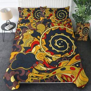 Mandala Floral Paisley Flower King Queen Twin Quilt Duvet Pillow Cover Bed Set