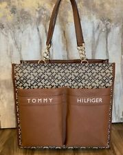 New Tommy Hilfiger Women's Brown Beige Shopper tote  Shoulder Hand Bag Purse