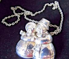 BEST JEWELRY HOLIDAY BROOCH PIN & PENDANT MR. MRS. SNOWMAN  NECKLACE & CHAIN