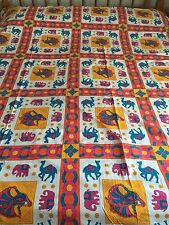 INDIAN 100% COTTON DOUBLE SIZE YELLOW CAMEL and GUJRI PRINT BEDSPREAD