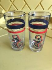 "Set Of 2 Blue & Red Boat Military Anchor Drinking Glasses Italy 5"" Tall (MF)"