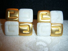 VINTAGE GIVENCHY GOLD CERAMIC BLOCK EARRINGS  ~~RARE SIGNED~~