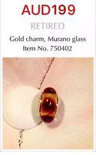 "PANDORA 14K gold Brown Murano Glass Bead Charm.  ""Brown Mystic""  750402"